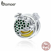 BAMOER Solid s925 Sterling silver Charm Bead Summer fruit Fit Bracelet Jewelry