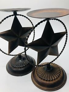 Set Of Two New Rustic Farmhouse Western Metal Star Pillar Candle Holders