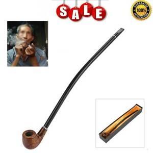 Wooden Tobacco Smoking Pipe Churchwarden Long Handle Pipe Men's Gift+Gift Box