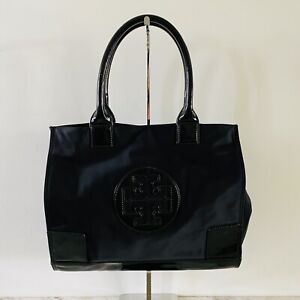 TORY BURCH Solid Black Ella Mini Nylon Tote Bag Large Logo