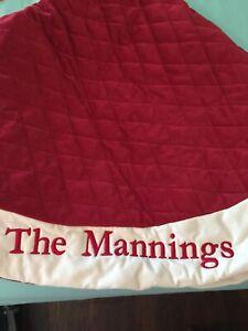 """POTTERY BARN VELVET CHRISTMAS TREE SKIRT,RED,IVORY, LARGE, MONO """"The Mannings"""""""