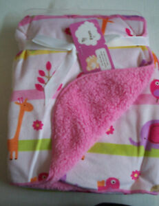 """Baby Blanket, Pink Jungle Print, By Snugly Baby, 30"""" x 40"""", Brand New"""