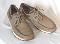 CLARKS Mens Size 11 Gray-Brown Nubuck Leather Casual Lace-Ups Driving Boat Shoes