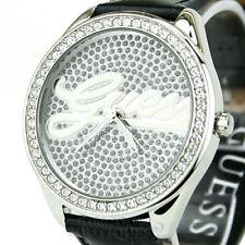 New GUESS Women's Watch Black Leather Crystals Swarovski Logo WResist Montre NwT