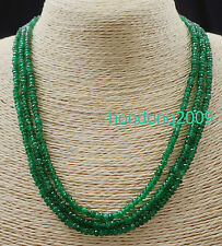 GENUINE TOP NATURAL 3 Rows 2X4mm FACETED GREEN EMERALD BEADS NECKLACE