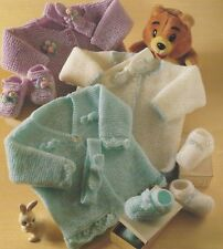 """Baby Easy Knit Matinee Coat, Shoes and Headband Knitting Pattern DK 14-20"""" 1116"""