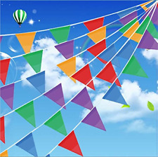 Multi Color Pennant Banners String Flags Party Decor 250Ft Nylon Fabric Triangle