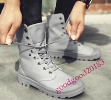 Men Lace Up Canvas High Top Combat Shoes Hot Sale Ankle Boots Hiking Flats Boots