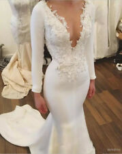 Vintage White/Ivory Mermaid Wedding Dress Long Sleeve Applique Satin Bridal Gown