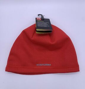 Under Armour Men's Cold Gear Infrared Storm Red Beanie Hat Running Training NEW