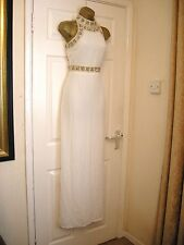 8 MISSGUIDED EMBELLISHED IVORY MAXI DRESS RETRO 60'S 70'S STYLE WEDDING PARTY