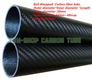 3K Carbon Fiber Tubes OD 50mm ID 44mm  46mm 47mm 48mm  Roll Wrapped X 500MM