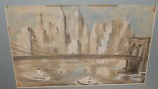 M.MEIKE FLAU BROOKLYN BRIDGE NEW YORK HARBOR ORIGINAL PASTEL PAINTING DATED 1960