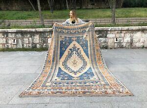 RARE 5x9 BLUE AND NEUTRAL COLOR SOFT HANDMADE WOOL TURKISH ANATOLIAN VINTAGE RUG