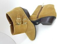 Apri NWOT Tan Brown Genuine Suede Ankle Boots Booties size 7 Galant Low Heel