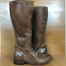 Frye Vienna Tall Lace Up Zip Leather Boot Womens 9 Brown Riding Goodyear Spain