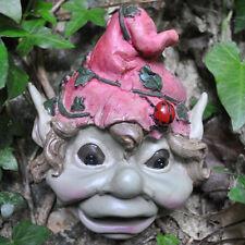 Garden Pixie Face Plaque Sculpture Statue Fairy Golbin Ornament H14cm Red 39135