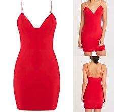 Pretty Little Thing Red Slinky Strappy Plunge Mini Bodycon V Neck Dress Party