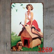 Metal Tin Sign sexy lady with doghouse Decor Bar Pub Home Vintage Retro Poster