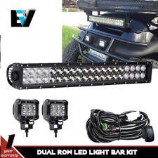 For Golf Cart Light Kit Black 20'' LED Light Bar Combo Beam+Pods+Wiring Kit