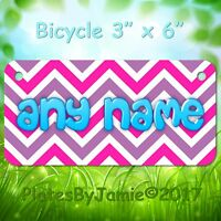 PINK PURPLE CHEVRON CUSTOM ANY  NAME or TEXT Child's Bicycle Bike License Plate