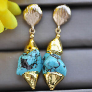 Z10370 25mm Gold-Plating Baroque Blue Turquoise Yellow Dangle Earring