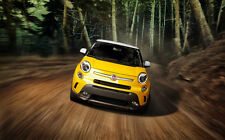 """FIAT 500L FRONT A1 CANVAS PRINT POSTER FRAMED 33.1"""" x 21.4"""""""