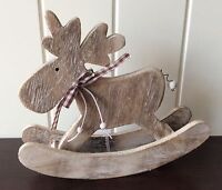 LARGE WOODEN ROCKING REINDEER CHRISTMAS DECORATION CUTE BY HEAVEN SENDS