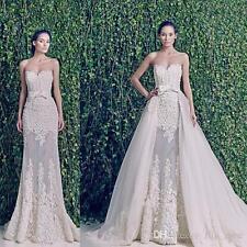 Detachable Train Wedding Dresses White/Ivory Backless Applique Lace Bridal Gowns