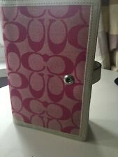 Authentic COACH Pink Signature Fabric & White Leather AGENDA/Planner/Organiser