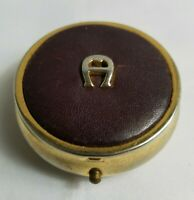 Vintage Aigner Brown Gold Tone Round Logo 3 Slot Container Box Pill Holder