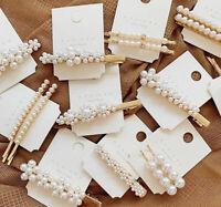 Fashion Diamante Pearl Hair Clip Snap Barrette Stick Hairpin Bobby Accessories
