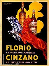 Florio Cinzano Zebras Marsala Vermouth Vintage Advertisement Art Poster Print