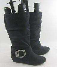"New Black 1.5""Low Hidden Wedge Heel  Round Toe KNEE Sexy Boot 5.5"