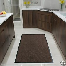 "Barrier Runner Ribbed Plain Mat Non Slip Heavy Duty Large Dirt Trap Office Rug 80x150cm (2'6""x5') Brown Black"