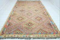 """Vintage Turkish Cal Nomad Kilim, Large Rug, Floor Kelim 82""""x126"""" Area Rug Carpet"""