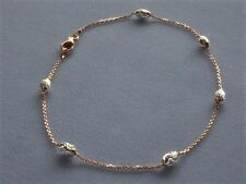 "10"" STERLING SILVER/ROSE GOLD- TWO TONE ANKLE BRACELET w/OVAL BEADS-ITALY 925"