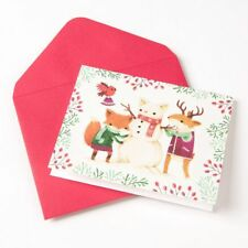 Papyrus Teagan White Woodland Animals Building Snowman Christmas Fox Note Card