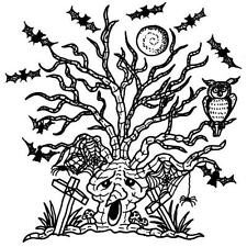 HALLOWEEN Haunted Tree Cling Unmounted Rubber Stamp Class Act Inc HA203L NEW