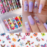 10 Rolls/Box Nail Foil Stickers Flowers Butterflies Transfer Decals Nails Decor