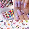 10 Rolls/Box Nail Foil Stickers Flowers Butterflies Transfer Decals Nails Decor