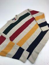 Tommy Hilfiger HUDSON BAY STRIPE Sweater Flag Red Blue Sz XL Wool RARE