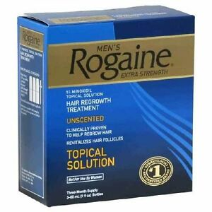 ROGAINE Extra Strength 5% Minoxidil Liquid 3 MONTHS SUPPLY 2oz 60ml Bottles MENS