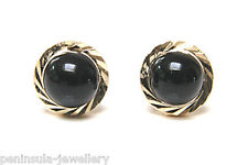 9ct Gold Black Onyx stud earrings Made in UK Gift Boxed Studs