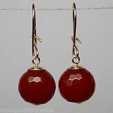 10mm FACETED CARNELIAN ROUND BEAD / BALL SOLID 9ct YELLOW GOLD DROP EARRINGS