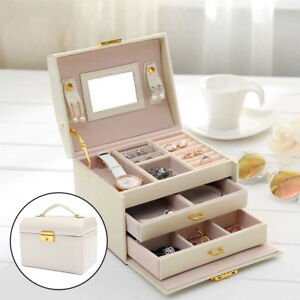 Large Jewellery Box Leather Finish Storage Drawer Cabinet Organizer Beige UK