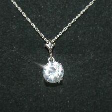 2.3ct Round Diamond Alternatives Solitaire Pendant Necklace Solid 14k White Gold