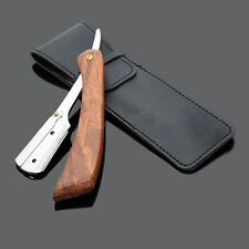 Wood Handle Straight Stainless Razor Blades Barber Folding Shaving Knife  US