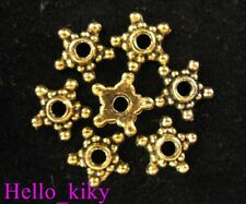 250pcs Antiqued gold plt Beaded star spacer beads A662