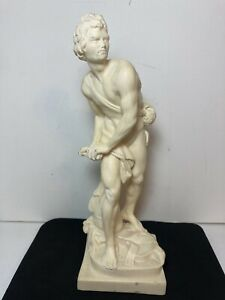 """A. Santini David And Goliath with Sling Art Sculpture Signed Italy Figurine 9.5"""""""